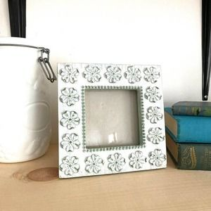 Cottagecore White Washed Floral Frame